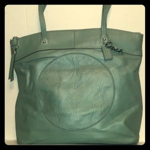 Coach Laura Seafoam (Surf) Leather Slim Tote-Rare